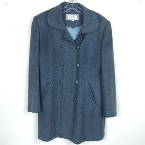Vintage Heather Green Wool Blend Pea Coat